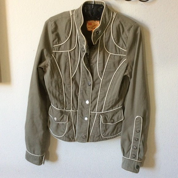 Anthropologie Jackets & Blazers - Anthropologie Twill Twenty Two Piped Green Jacket